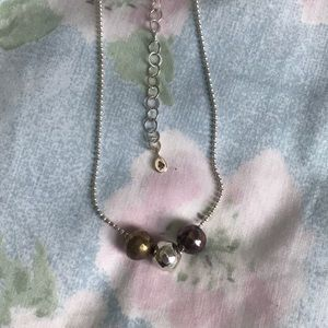 Sterling Silver Bead Necklace Bronze Purple